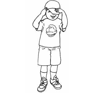 Boy With Hat Coloring Sheet