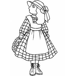 Girl In Dress Coloring Sheet