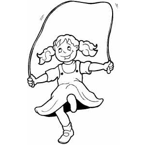 Little Girl Jumping Rope Coloring Sheet