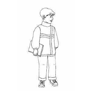 Standing Boy With Book Coloring Sheet
