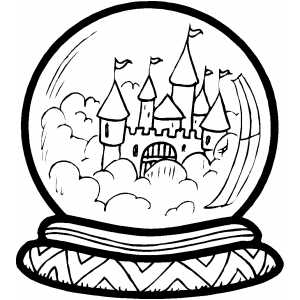 Castle In Crystal Ball Coloring Sheet
