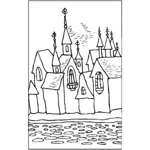 Castle In Old City Coloring Sheet