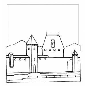 Castle Wall Coloring Sheet