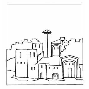 Castle With Garden Inside Coloring Sheet