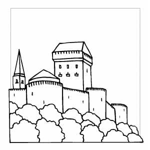 Castle With Round Towers Coloring Sheet