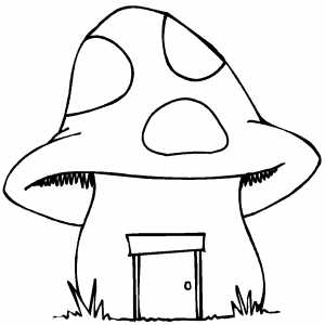 Mushroom House Coloring Sheet