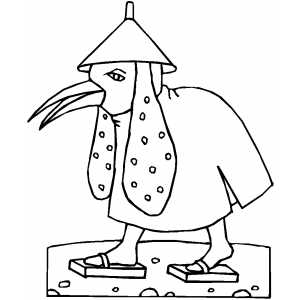 Bird Creature With Helm Coloring Sheet