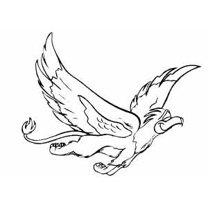 Flying Happy Griffin Coloring Sheet