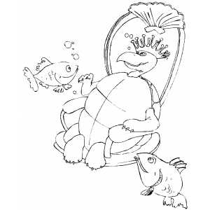 King Turtle Coloring Sheet