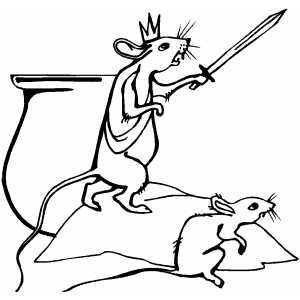 Rat King With Sword Coloring Sheet
