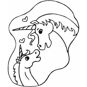 Unicorns In Love Coloring Sheet