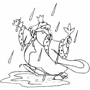 Dancing King In Rain Coloring Sheet