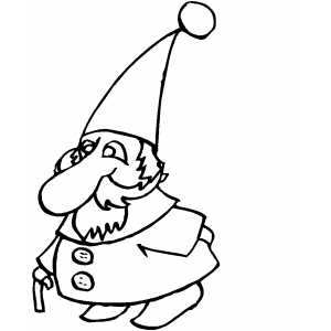Gnome With Stick Coloring Sheet