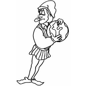 Man With Globe Coloring Sheet