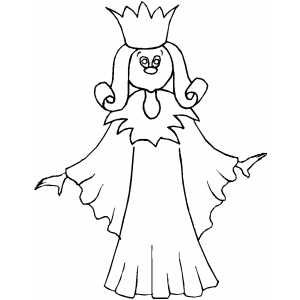 Princess In Long Dress Coloring Sheet