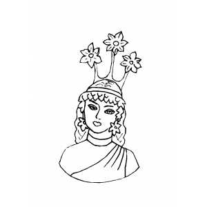 Princess With Flowers Crown Coloring Sheet