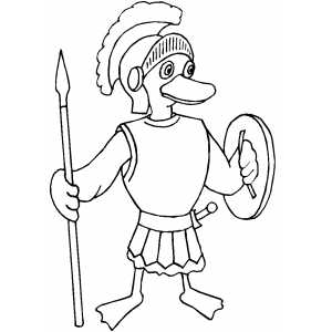 Roman Duckling Soldier Coloring Sheet