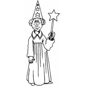 Wizard With Magic Wand Coloring Sheet