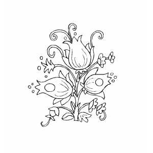 Flowers Design With Tulips Coloring Sheet