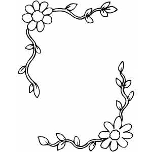Flowers Frame Coloring Sheet