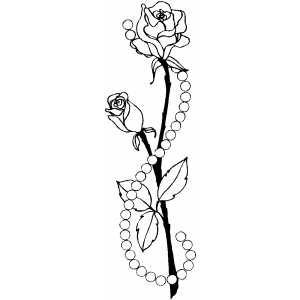 Roses And Pearls Coloring Sheet