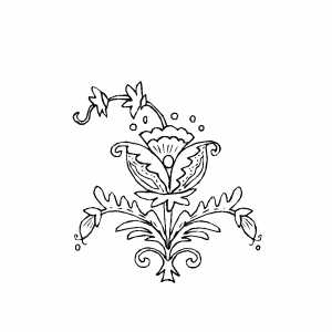 Three Flowers Ornament Coloring Sheet