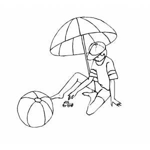 Boy Under Beach Umbrella Coloring Sheet