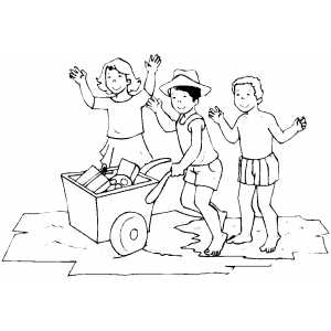 Children Going To Beach Coloring Sheet