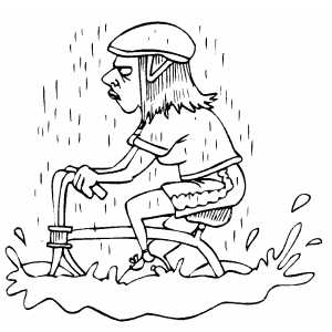 Cycling In Rain Coloring Sheet