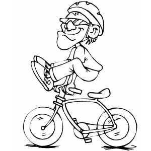 Cyclist Doing Dangerous Stunt Coloring Sheet
