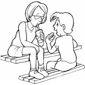 Family On Picnic Coloring Sheet