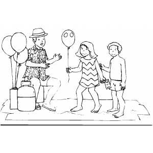 Girl Buying Balloon Coloring Sheet