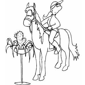 Horse Saw Cactus Coloring Sheet