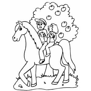 Horseriders Eating Apples Coloring Sheet