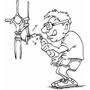 Man Fixing Bicycle Coloring Sheet