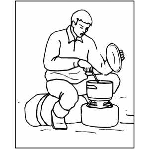 Man Preparing Food At Camp Coloring Sheet