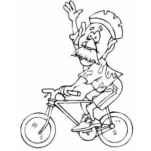 Old Man Cycler Waving Coloring Sheet