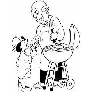 Old Man Giving Hotdog To Boy Coloring Sheet
