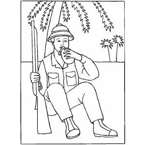 Resting Hunter Coloring Sheet