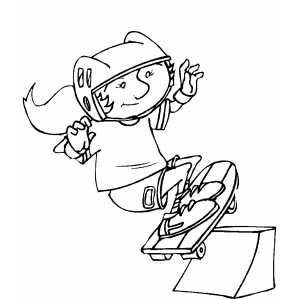 Skateboarding Girl Coloring Sheet