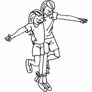 Three Legged Race Coloring Sheet