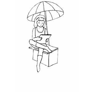 Under Umbrella Coloring Sheet