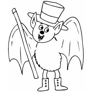 Bat With Cane Coloring Sheet