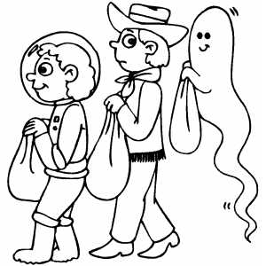 Costumed Kids Coloring Sheet