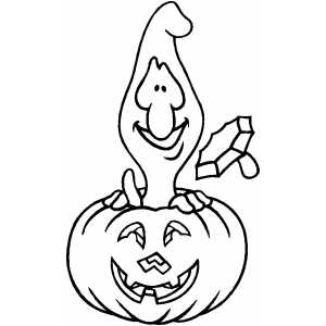 Ghost In Pumpkin Coloring Sheet
