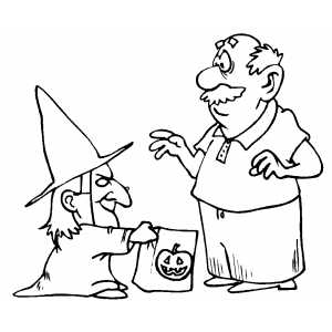 Gnome Trick Or Treat Coloring Sheet