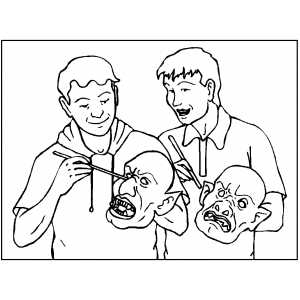 Kids Painting Masks Coloring Sheet
