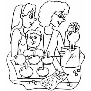 Making Caramel Apples Coloring Sheet