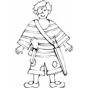 Pirate Costume Coloring Sheet
