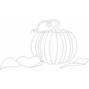Pumpkin And Leaves Coloring Sheet